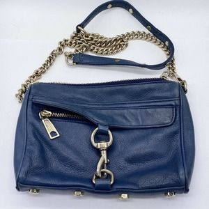 Rebecca Minkoff Mini Mac M.A.C. Blue Leather Crossbody Bag Shoulder Bag Purse